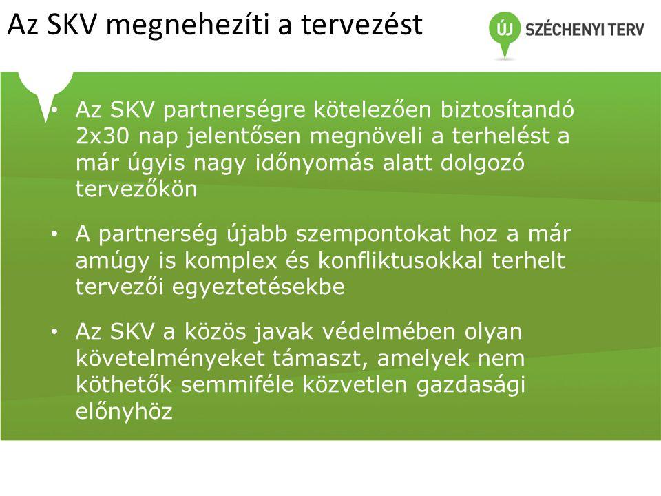Az SKV megnehezíti a tervezést Az SKV partnerségre kötelezően biztosítandó 2x30 nap jelentősen megnöveli a terhelést a már úgyis nagy időnyomás alatt