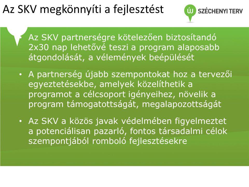 Az SKV megkönnyíti a fejlesztést Az SKV partnerségre kötelezően biztosítandó 2x30 nap lehetővé teszi a program alaposabb átgondolását, a vélemények be