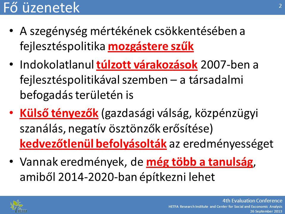 4th Evaluation Conference HETFA Research Institute and Center for Social and Exconomic Analysis 26 September 2013 Prezentáció szerkezete A társadalmi-gazdasági és szakpolitikai környezet – a probléma mértéke Inputok és célzás Eredmények Tanulságok 3 Leszakadó térségek elitjeinek helyzetét stabilizáltuk (EMVA is!), megéri helyben maradni, van némi lehetőség a gyarapodásra, nem kell elvándorolni - ugyanakkor ezek az elitek (polgármester, vállalkozók, intézményvezetők, pedagógusok, stb.) alig-alig váltak alkalmasabbá az integráció feladatának elvégzésére