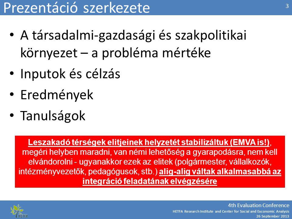 """4th Evaluation Conference HETFA Research Institute and Center for Social and Exconomic Analysis 26 September 2013 Agrár- és vidékfejlesztés bekapcsolása A szegénység részben a területileg periferikus, karakterükben mezőgazdasági térségekben koncentrálódik A 2007-2013 időszakban nincs érdemi koordináció az ERFA/ESZA és az EMVA források felhasználása között EMVA alig vesz részt a szegénység csökkentését célzó fejlesztésekben Gépesítés és nagyüzemi monokultúrák fejlesztésének következménye: csökkenő munkaerő-kereslet, """"bekerítés 14"""