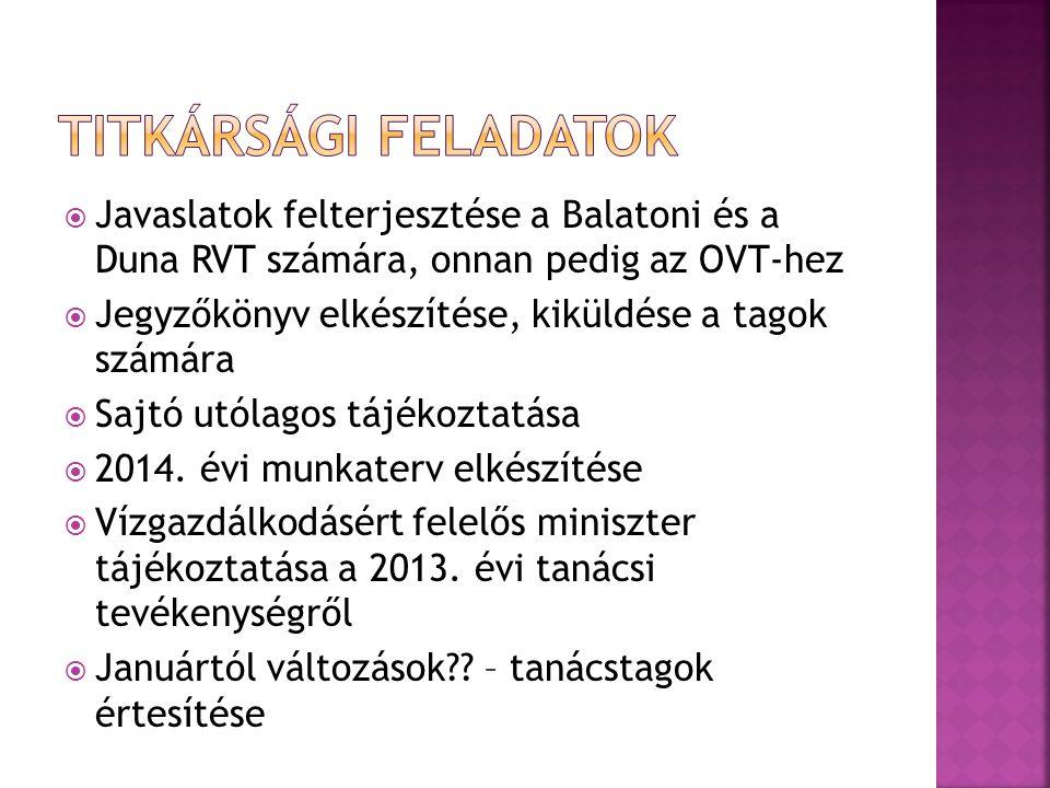  Javaslatok felterjesztése a Balatoni és a Duna RVT számára, onnan pedig az OVT-hez  Jegyzőkönyv elkészítése, kiküldése a tagok számára  Sajtó utól