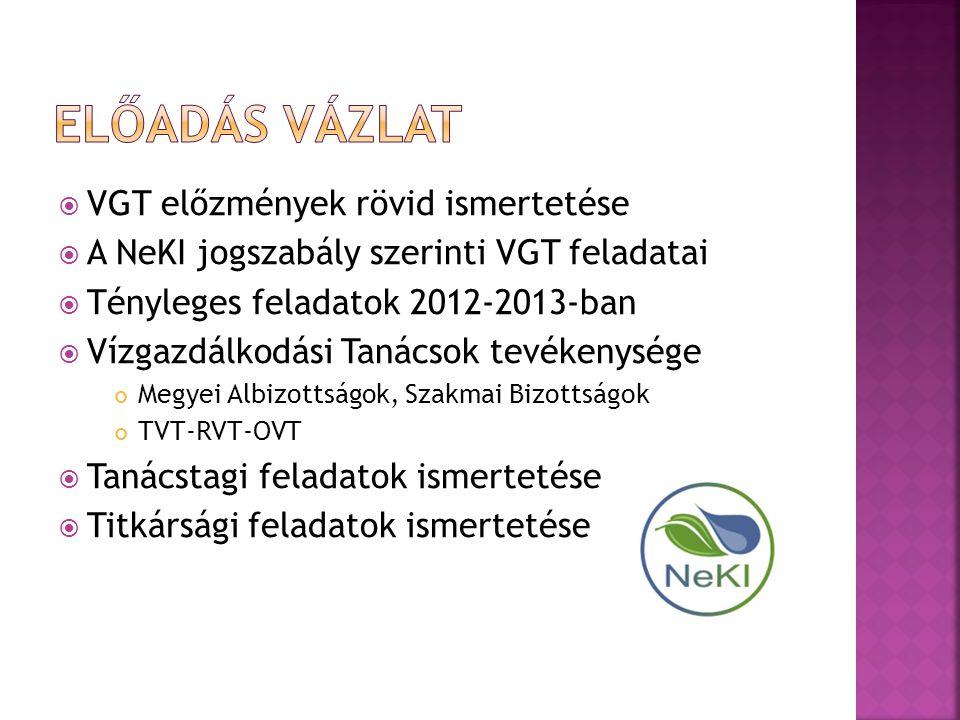  VGT előzmények rövid ismertetése  A NeKI jogszabály szerinti VGT feladatai  Tényleges feladatok 2012-2013-ban  Vízgazdálkodási Tanácsok tevékenys