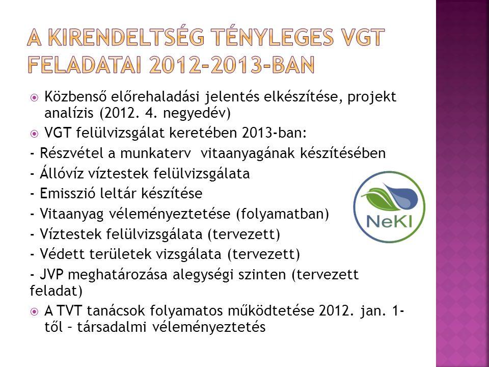  VGT felülvizsgálat – első szakasz (2012.dec. – 2013.