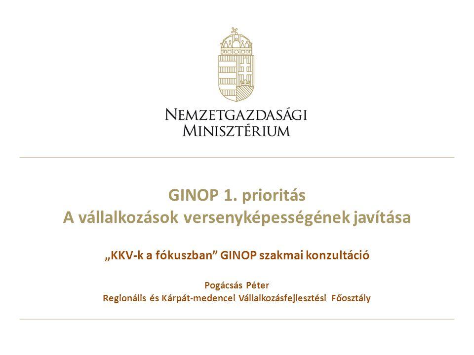 """GINOP 1. prioritás A vállalkozások versenyképességének javítása """"KKV-k a fókuszban"""" GINOP szakmai konzultáció Pogácsás Péter Regionális és Kárpát-mede"""