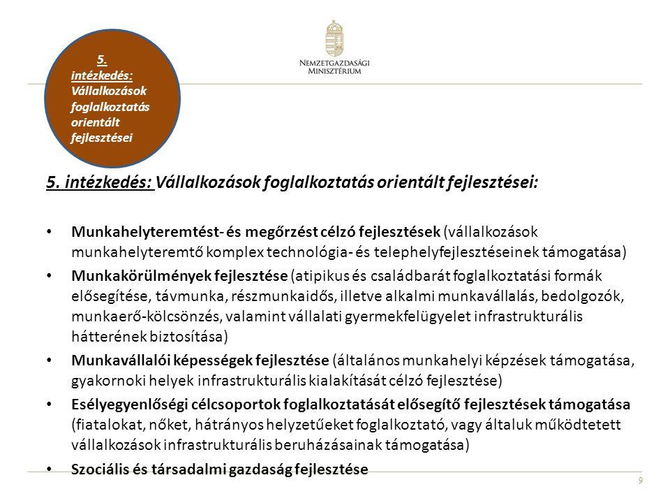 9 5. intézkedés: Vállalkozások foglalkoztatás orientált fejlesztései: Munkahelyteremtést- és megőrzést célzó fejlesztések (vállalkozások munkahelytere