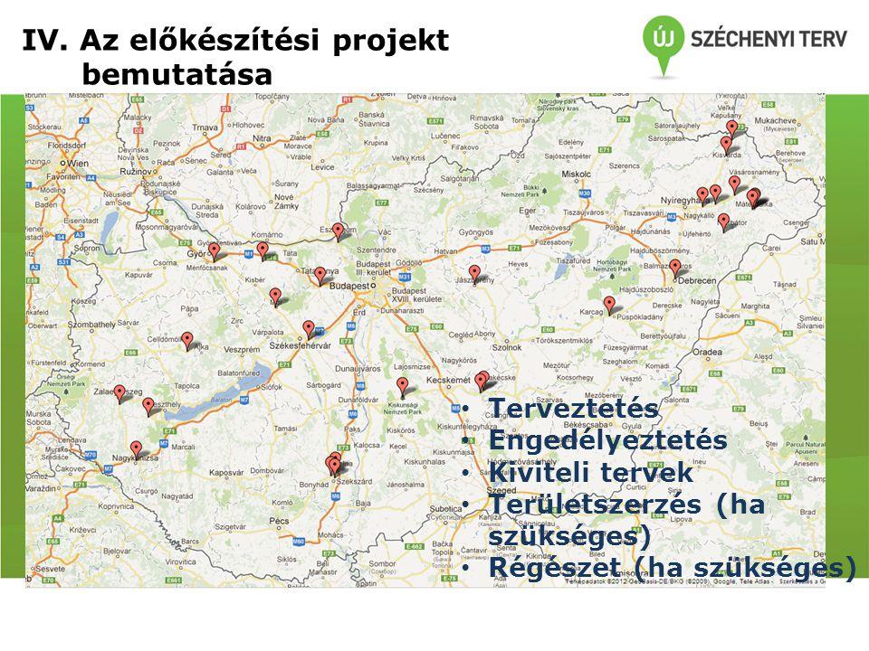 Fejlesztésre javasolt helyszínek IV. Az előkészítési projekt bemutatása Terveztetés Engedélyeztetés Kiviteli tervek Területszerzés (ha szükséges) Régé