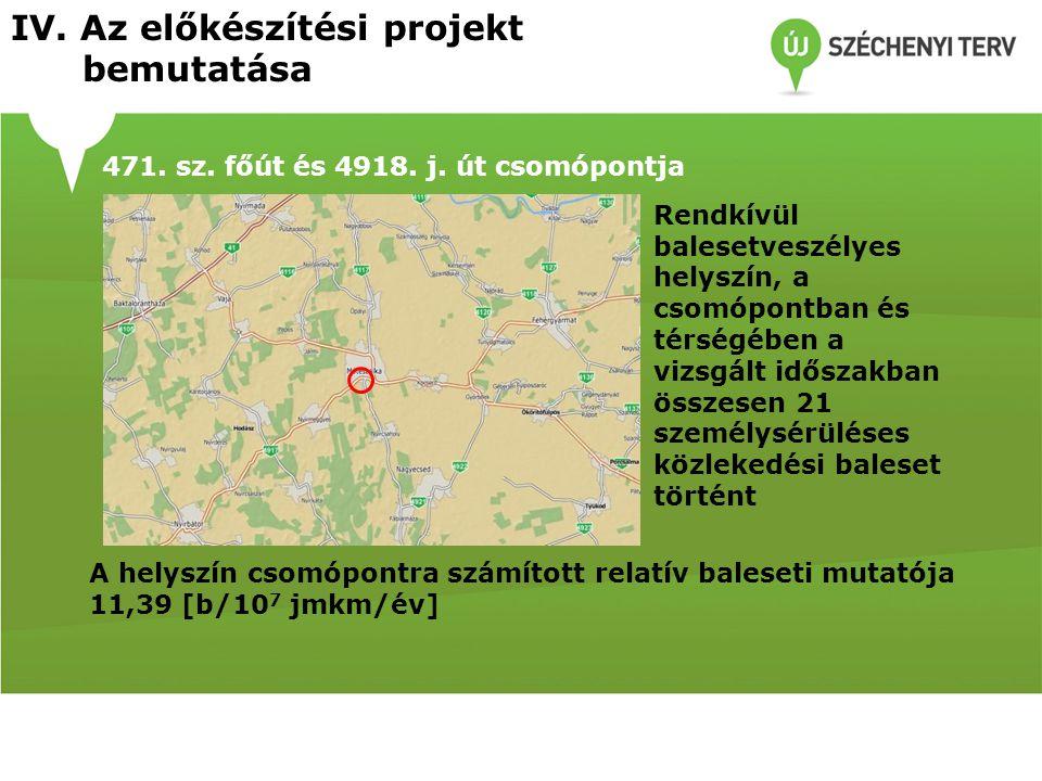 471. sz. főút és 4918. j. út csomópontja Rendkívül balesetveszélyes helyszín, a csomópontban és térségében a vizsgált időszakban összesen 21 személysé
