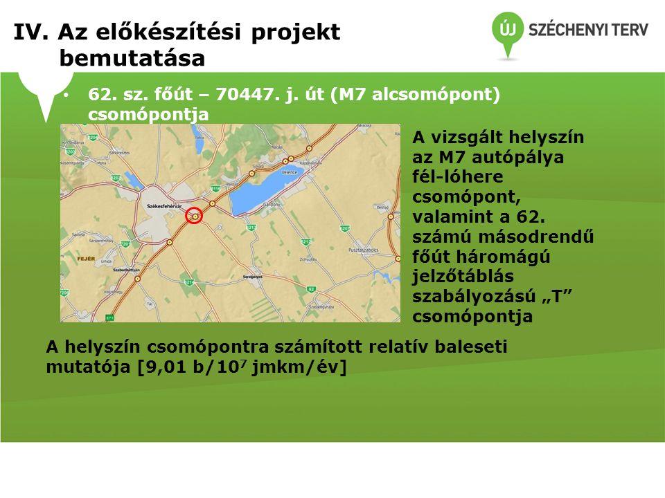 62. sz. főút – 70447. j. út (M7 alcsomópont) csomópontja A vizsgált helyszín az M7 autópálya fél-lóhere csomópont, valamint a 62. számú másodrendű főú