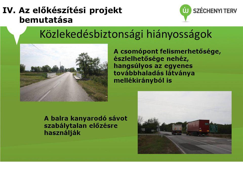 Közlekedésbiztonsági hiányosságok A csomópont felismerhetősége, észlelhetősége nehéz, hangsúlyos az egyenes továbbhaladás látványa mellékirányból is A
