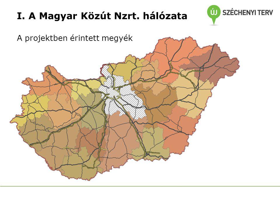 I. A Magyar Közút Nzrt. hálózata A projektben érintett megyék