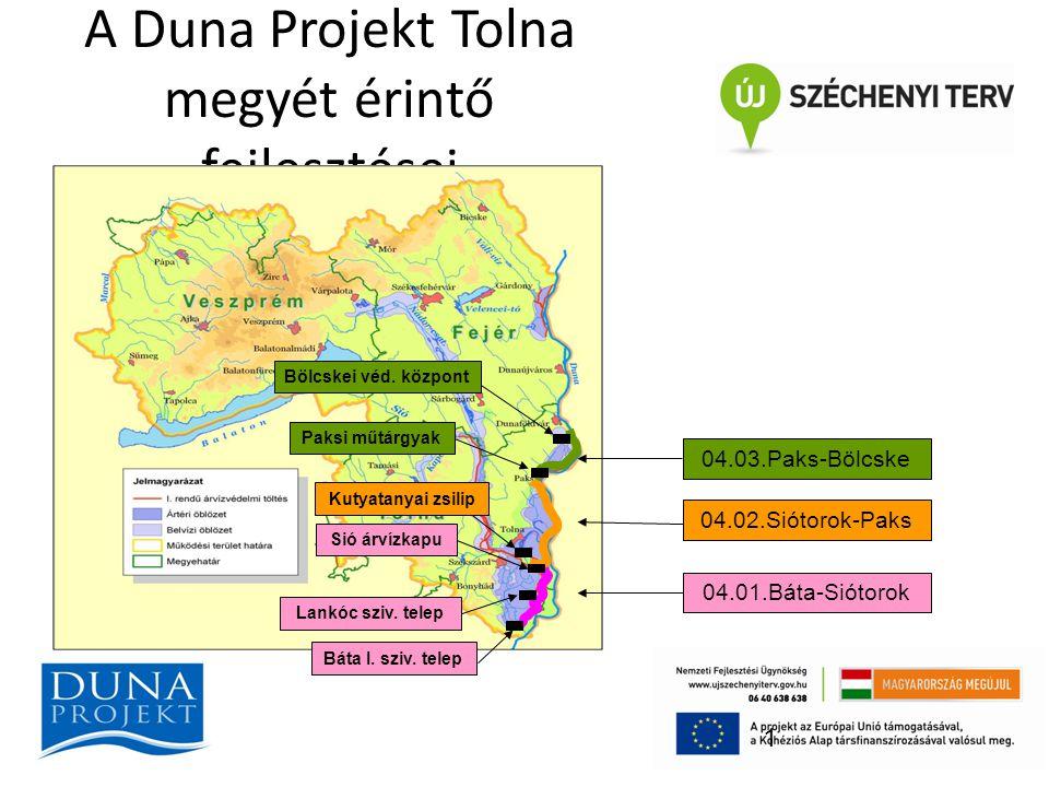A Duna Projekt Tolna megyét érintő fejlesztései 1 04.01.Báta-Siótorok 04.02.Siótorok-Paks 04.03.Paks-Bölcske Sió árvízkapu Báta I. sziv. telep Lankóc