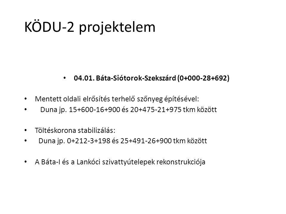 04.01. Báta-Siótorok-Szekszárd (0+000-28+692) Mentett oldali elrősítés terhelő szőnyeg építésével: Duna jp. 15+600-16+900 és 20+475-21+975 tkm között