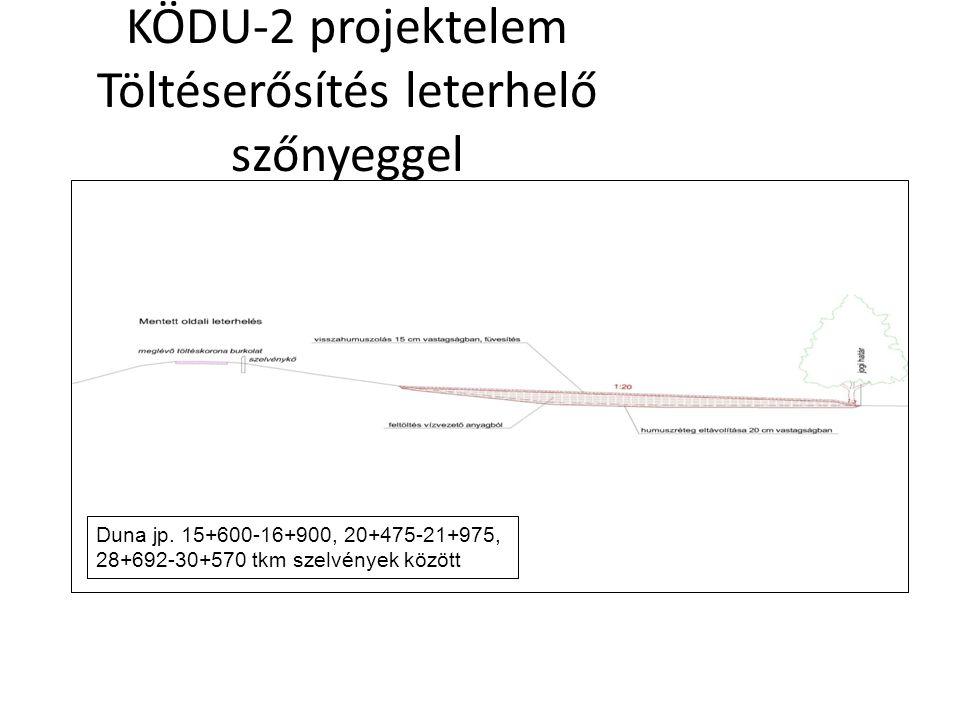 KÖDU-2 projektelem Töltéserősítés leterhelő szőnyeggel Duna jp. 15+600-16+900, 20+475-21+975, 28+692-30+570 tkm szelvények között