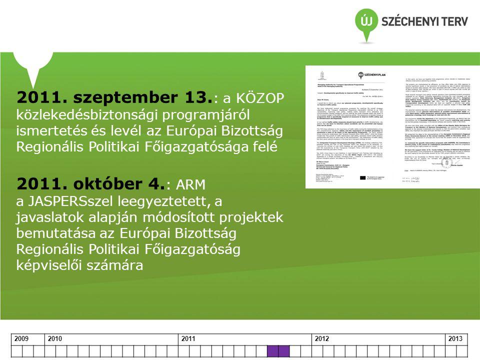 2011. szeptember 13. : a KÖZOP közlekedésbiztonsági programjáról ismertetés és levél az Európai Bizottság Regionális Politikai Főigazgatósága felé 201