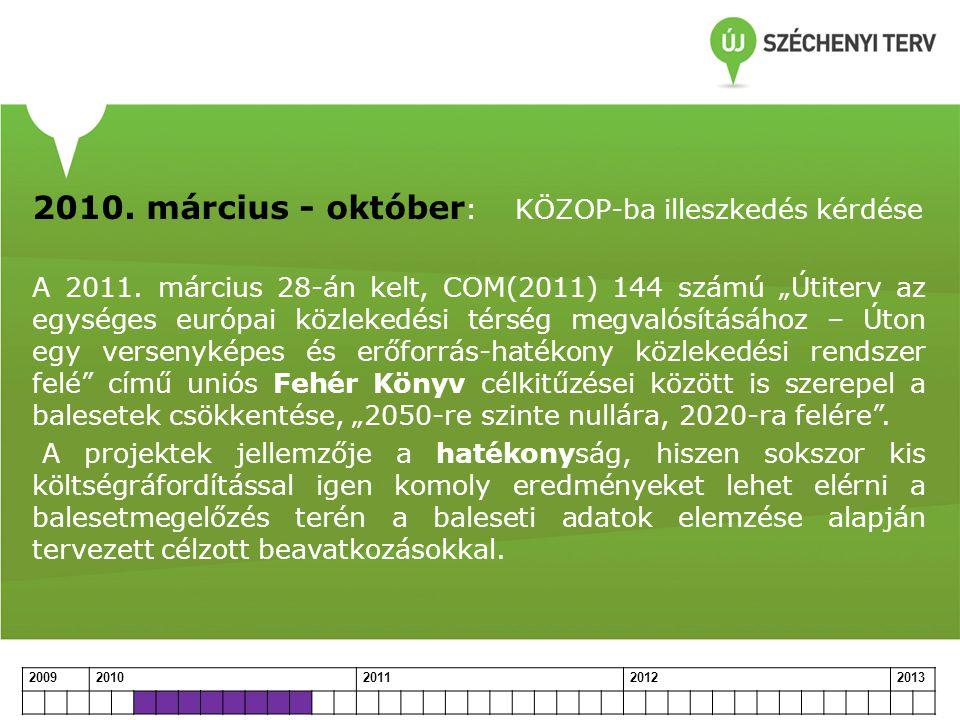 """2010. március - október : KÖZOP-ba illeszkedés kérdése A 2011. március 28-án kelt, COM(2011) 144 számú """"Útiterv az egységes európai közlekedési térség"""