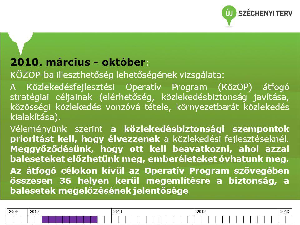 2010. március - október : KÖZOP-ba illeszthetőség lehetőségének vizsgálata: A Közlekedésfejlesztési Operatív Program (KözOP) átfogó stratégiai céljain