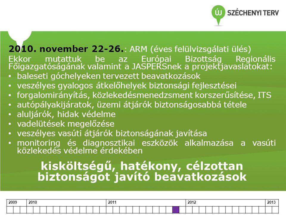 2010. november 22-26. : ARM (éves felülvizsgálati ülés) Ekkor mutattuk be az Európai Bizottság Regionális Főigazgatóságának valamint a JASPERSnek a pr