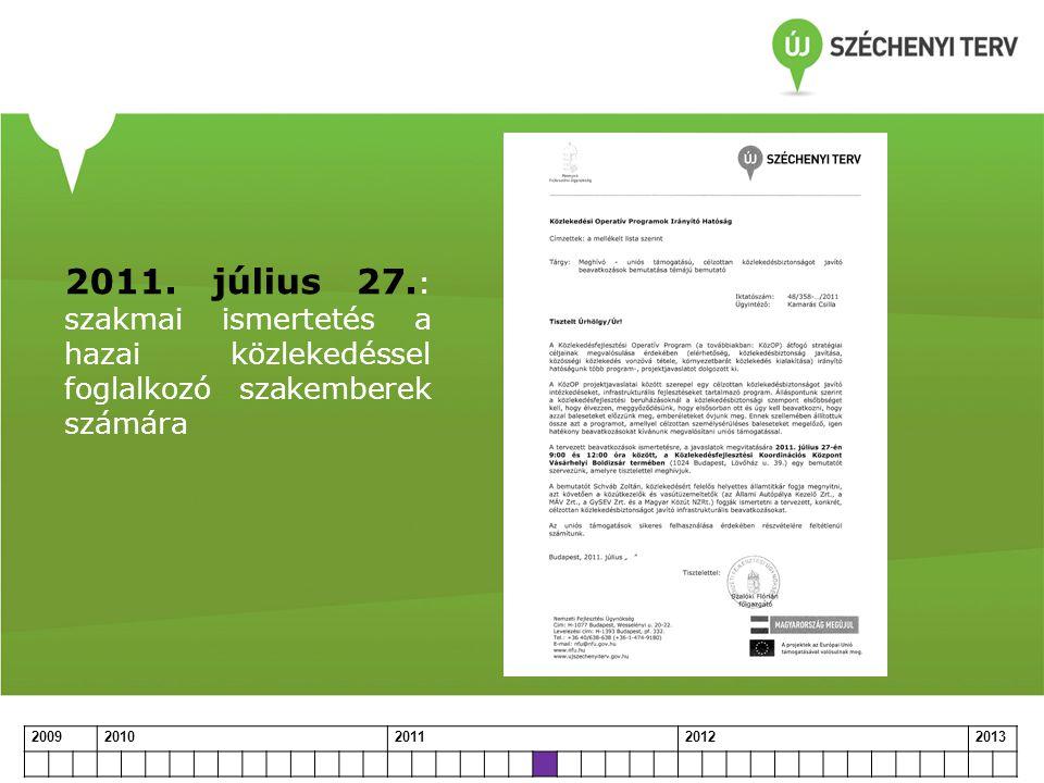 2011. július 27. : szakmai ismertetés a hazai közlekedéssel foglalkozó szakemberek számára 20092010201120122013