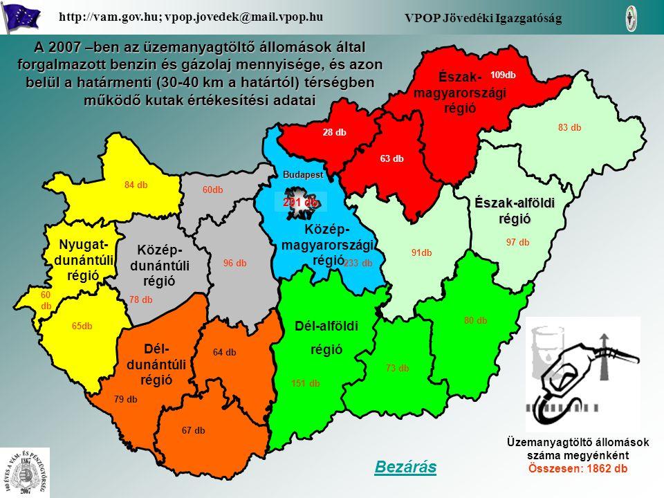 A Borsod-Abaúj-Zemplén megye területén az üzemanyagtöltő állomások által forgalmazott benzin és gázolaj mennyisége, és azon belül a határmenti (30-40 km a határtól) térségben működő kutak értékesítési adatai (havi bontásban fajtánként) - Benzin - Gázolaj - Határtól 30-40 km körzetben, 33 db üzemanyagtöltő állomás által forgalmazott üzemanyag mennyiség Vissza a régióhoz Borsod-Abaúj- Zemplén Borsod-Abaúj- Zemplén VPOP Jövedéki Igazgatóság http://vam.gov.hu; vpop.jovedek@mail.vpop.hu 109 db számokban