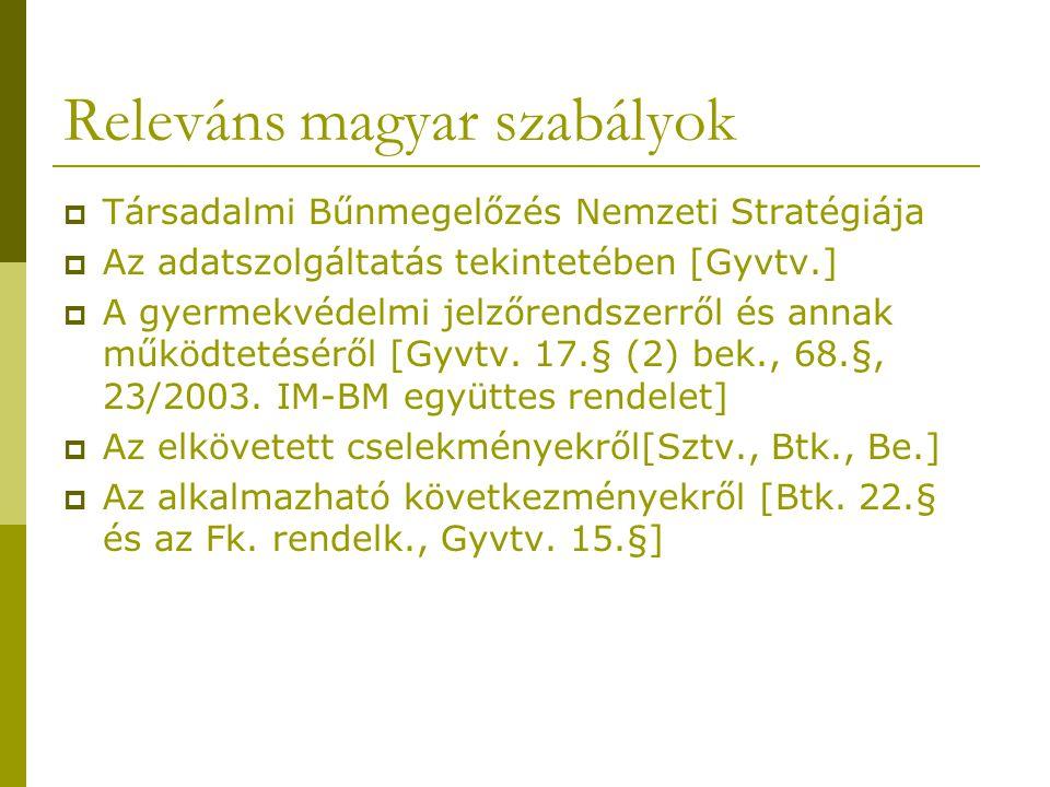 Releváns magyar szabályok  Társadalmi Bűnmegelőzés Nemzeti Stratégiája  Az adatszolgáltatás tekintetében [Gyvtv.]  A gyermekvédelmi jelzőrendszerről és annak működtetéséről [Gyvtv.