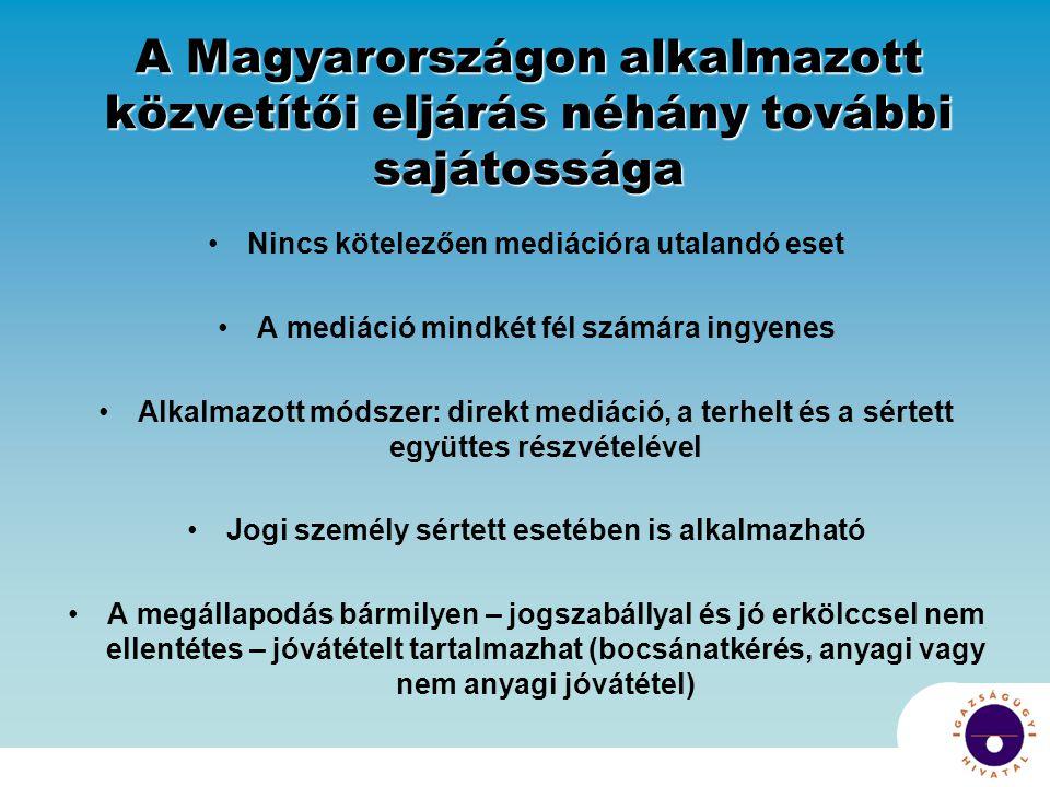 A Magyarországon alkalmazott közvetítői eljárás néhány további sajátossága Nincs kötelezően mediációra utalandó eset A mediáció mindkét fél számára ingyenes Alkalmazott módszer: direkt mediáció, a terhelt és a sértett együttes részvételével Jogi személy sértett esetében is alkalmazható A megállapodás bármilyen – jogszabállyal és jó erkölccsel nem ellentétes – jóvátételt tartalmazhat (bocsánatkérés, anyagi vagy nem anyagi jóvátétel)