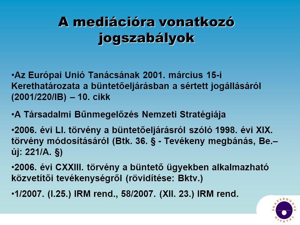 A mediációra vonatkozó jogszabályok Az Európai Unió Tanácsának 2001.