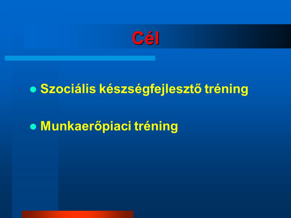 Cél Szociális készségfejlesztő tréning Munkaerőpiaci tréning