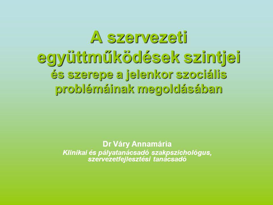 A szervezeti együttműködések szintjei és szerepe a jelenkor szociális problémáinak megoldásában Dr Váry Annamária Klinikai és pályatanácsadó szakpszichológus, szervezetfejlesztési tanácsadó