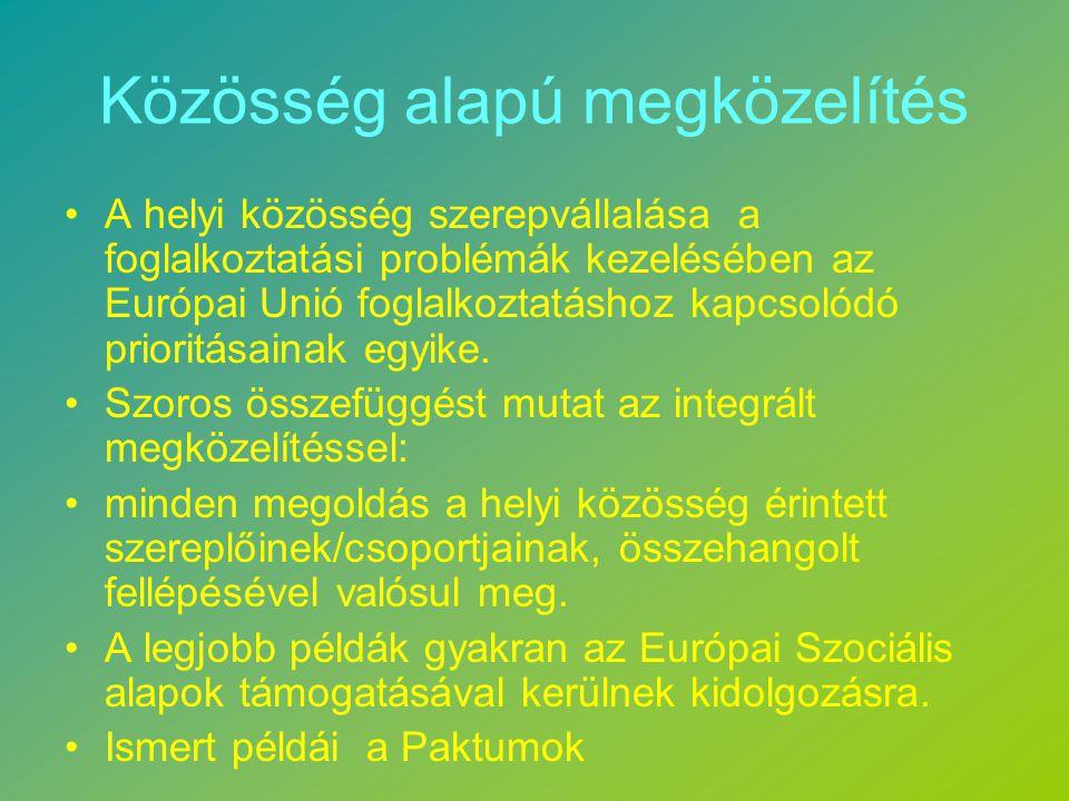 Közösség alapú megközelítés A helyi közösség szerepvállalása a foglalkoztatási problémák kezelésében az Európai Unió foglalkoztatáshoz kapcsolódó prioritásainak egyike.