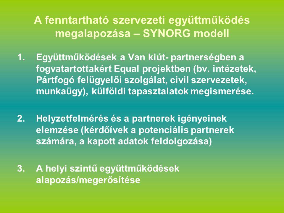 A fenntartható szervezeti együttműködés megalapozása – SYNORG modell 1.Együttműködések a Van kiút- partnerségben a fogvatartottakért Equal projektben (bv.