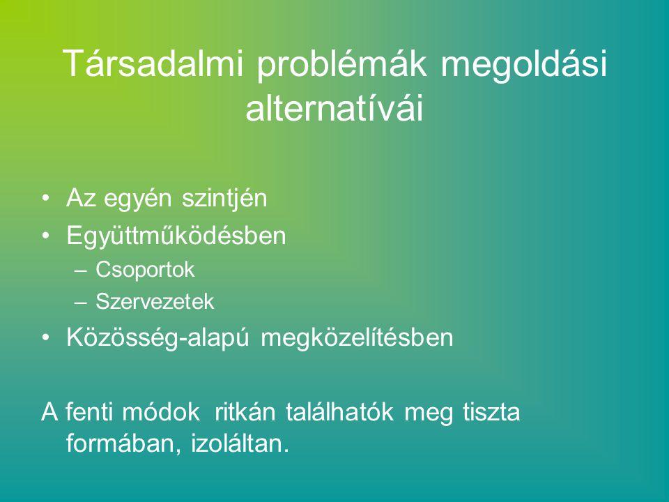 Individuális megoldás: Az egyén felelősségét hangsúlyozza, neki kell erőfeszítést tenni a helyzet megoldásáért.