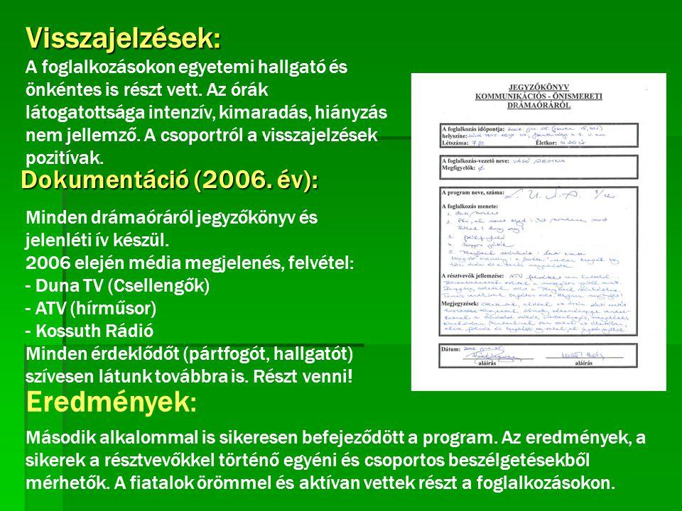 Visszajelzések: Dokumentáció (2006. év): Eredmények: Minden drámaóráról jegyzőkönyv és jelenléti ív készül. 2006 elején média megjelenés, felvétel: -