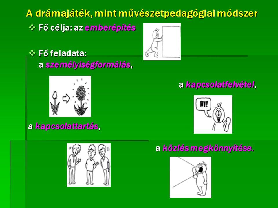 A drámajáték, mint művészetpedagógiai módszer  Fő célja: az emberépítés  Fő feladata: a személyiségformálás, a kapcsolatfelvétel, a kapcsolatfelvéte