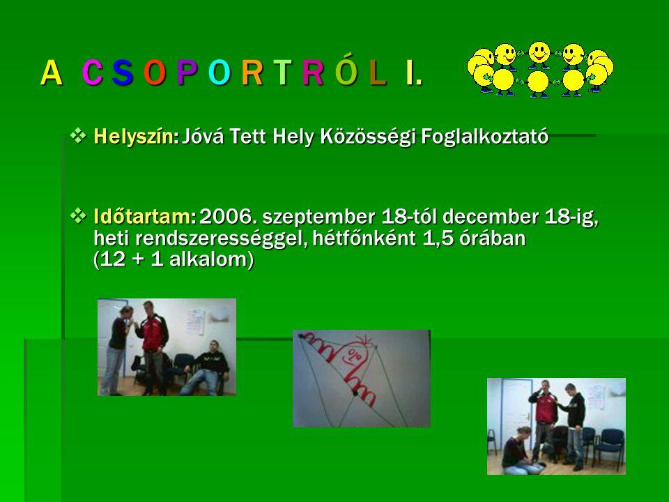 A C S O P O R T R Ó L I.  Helyszín: Jóvá Tett Hely Közösségi Foglalkoztató  Időtartam: 2006. szeptember 18-tól december 18-ig, heti rendszerességgel