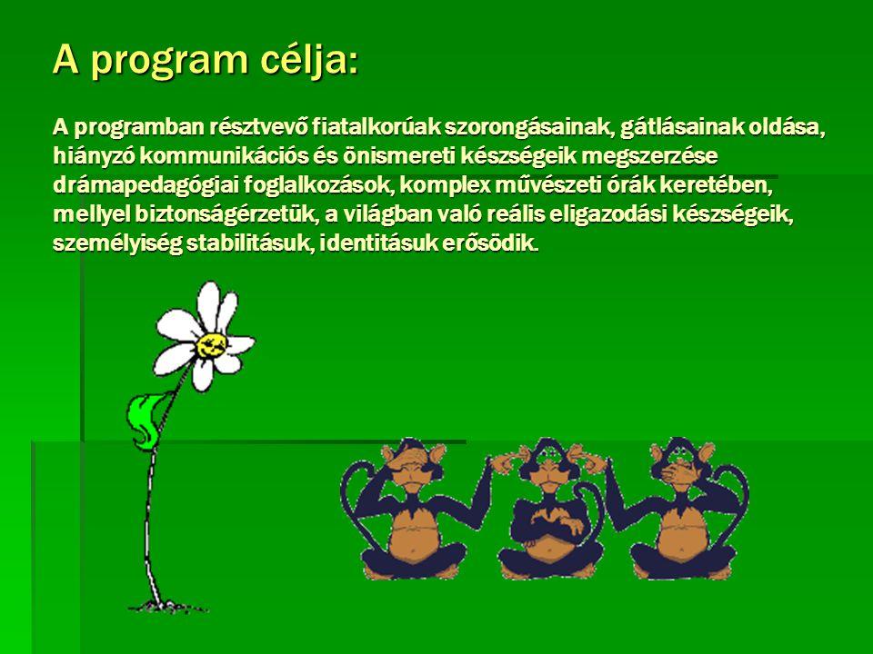 A program célja: A programban résztvevő fiatalkorúak szorongásainak, gátlásainak oldása, hiányzó kommunikációs és önismereti készségeik megszerzése dr