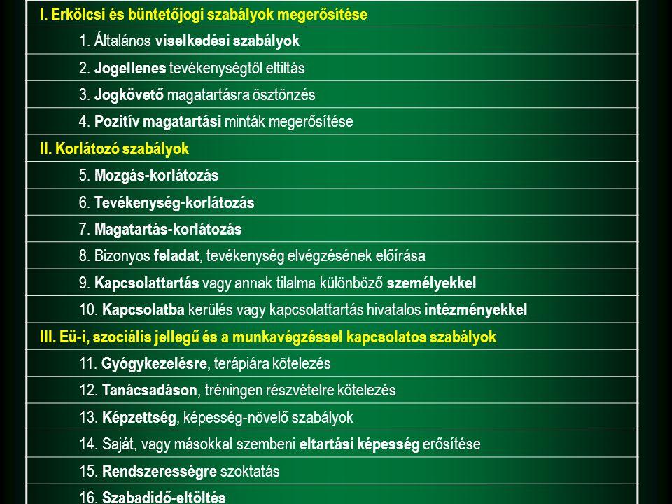 I. Erkölcsi és büntetőjogi szabályok megerősítése 1. Általános viselkedési szabályok 2. Jogellenes tevékenységtől eltiltás 3. Jogkövető magatartásra ö