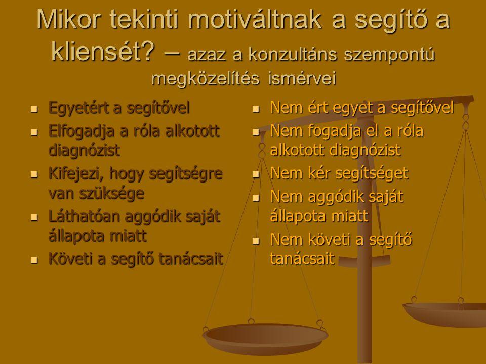 Mikor tekinti motiváltnak a segítő a kliensét? – azaz a konzultáns szempontú megközelítés ismérvei Egyetért a segítővel Egyetért a segítővel Elfogadja