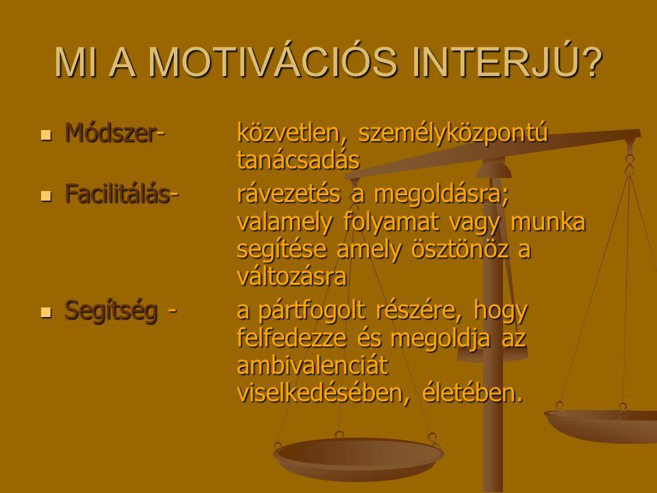 MI A MOTIVÁCIÓS INTERJÚ? Módszer-közvetlen, személyközpontú tanácsadás Módszer-közvetlen, személyközpontú tanácsadás Facilitálás- rávezetés a megoldás