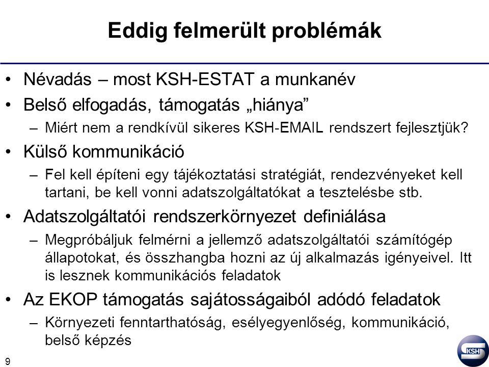 """9 Eddig felmerült problémák Névadás – most KSH-ESTAT a munkanév Belső elfogadás, támogatás """"hiánya –Miért nem a rendkívül sikeres KSH-EMAIL rendszert fejlesztjük."""