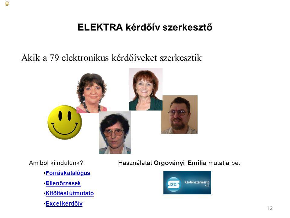 12 ELEKTRA kérdőív szerkesztő Akik a 79 elektronikus kérdőíveket szerkesztik Amiből kiindulunk? Forráskatalógus Ellenőrzések Kitöltési útmutató Excel