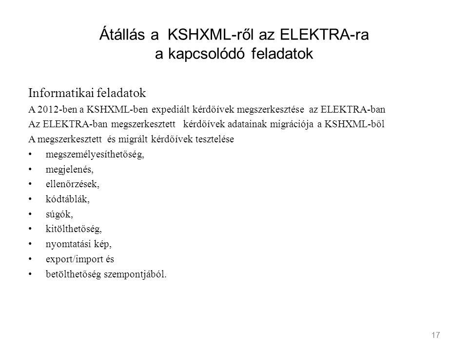 17 Átállás a KSHXML-ről az ELEKTRA-ra a kapcsolódó feladatok Informatikai feladatok A 2012-ben a KSHXML-ben expediált kérdőívek megszerkesztése az ELE
