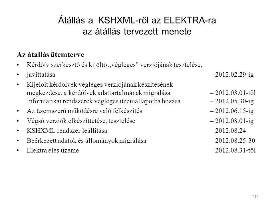 """19 Átállás a KSHXML-ről az ELEKTRA-ra az átállás tervezett menete Az átállás ütemterve Kérdőív szerkesztő és kitöltő """"végleges"""" verziójának tesztelése"""