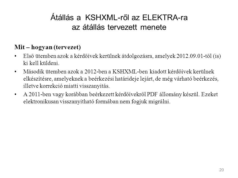 20 Átállás a KSHXML-ről az ELEKTRA-ra az átállás tervezett menete Mit – hogyan (tervezet) Első ütemben azok a kérdőívek kerülnek átdolgozásra, amelyek