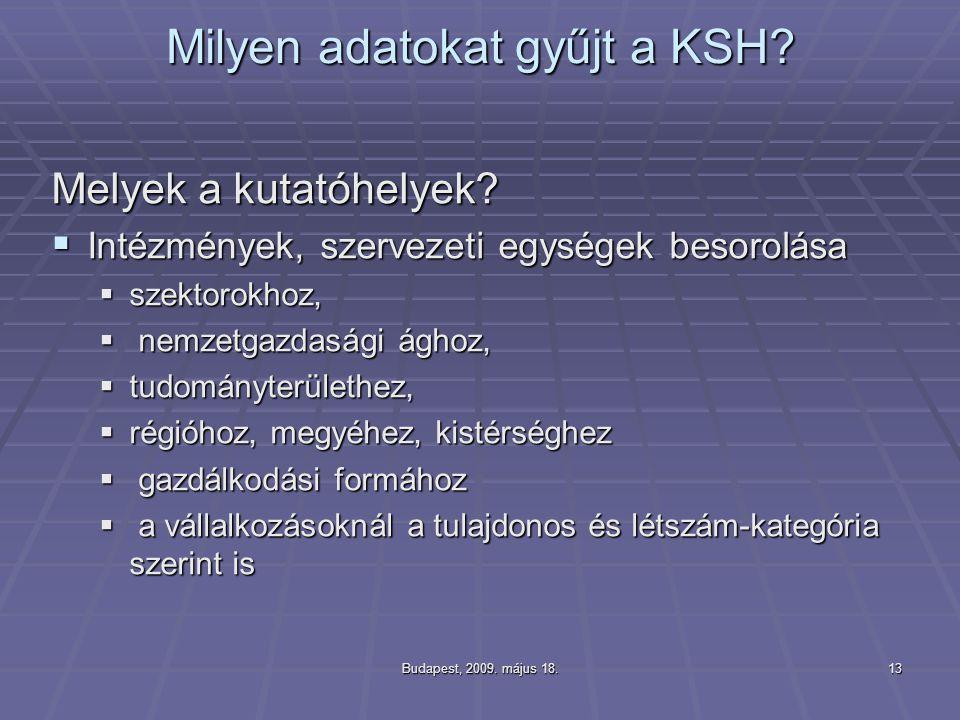 Budapest, 2009. május 18.13 Milyen adatokat gyűjt a KSH? Melyek a kutatóhelyek?  Intézmények, szervezeti egységek besorolása  szektorokhoz,  nemzet