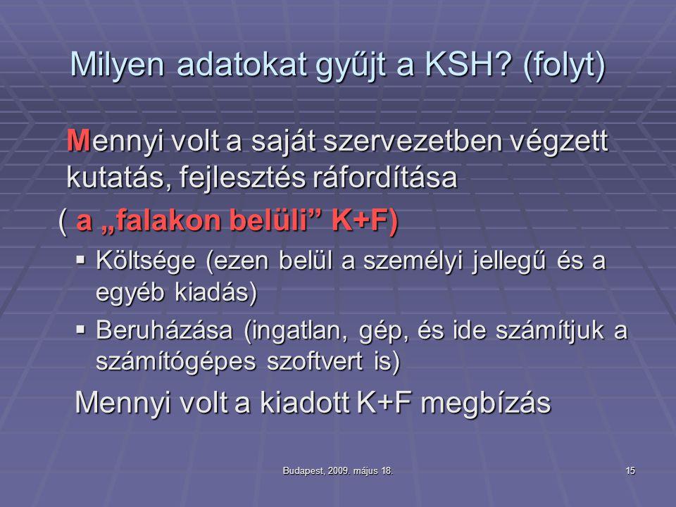 """Budapest, 2009. május 18.15 Milyen adatokat gyűjt a KSH? (folyt) Mennyi volt a saját szervezetben végzett kutatás, fejlesztés ráfordítása ( a """"falakon"""