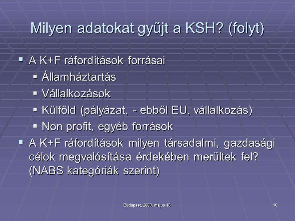 Budapest, 2009. május 18.16 Milyen adatokat gyűjt a KSH? (folyt)  A K+F ráfordítások forrásai  Államháztartás  Vállalkozások  Külföld (pályázat, -