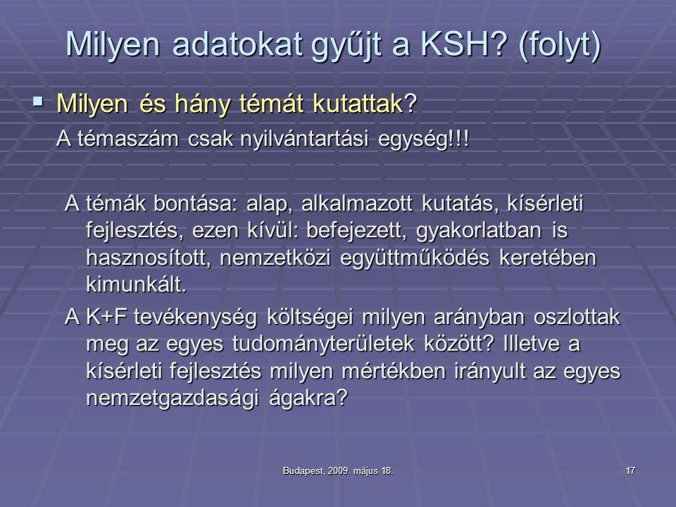 Budapest, 2009. május 18.17 Milyen adatokat gyűjt a KSH? (folyt)  Milyen és hány témát kutattak? A témaszám csak nyilvántartási egység!!! A témák bon