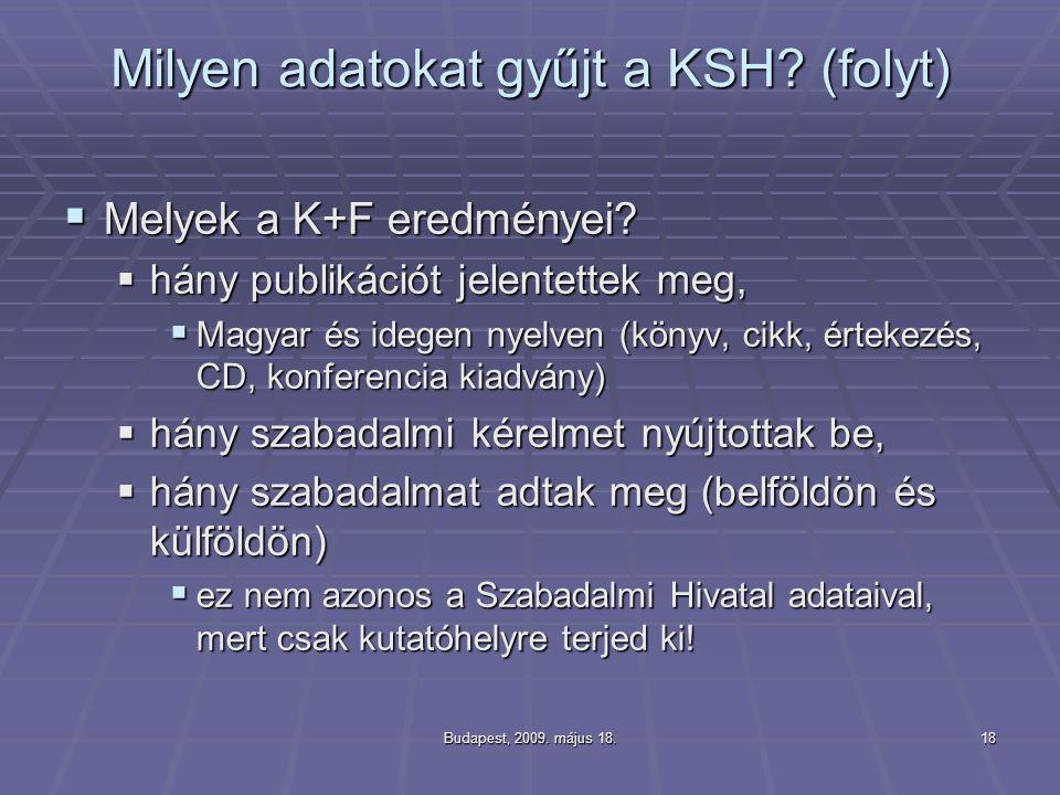Budapest, 2009. május 18.18 Milyen adatokat gyűjt a KSH? (folyt)  Melyek a K+F eredményei?  hány publikációt jelentettek meg,  Magyar és idegen nye