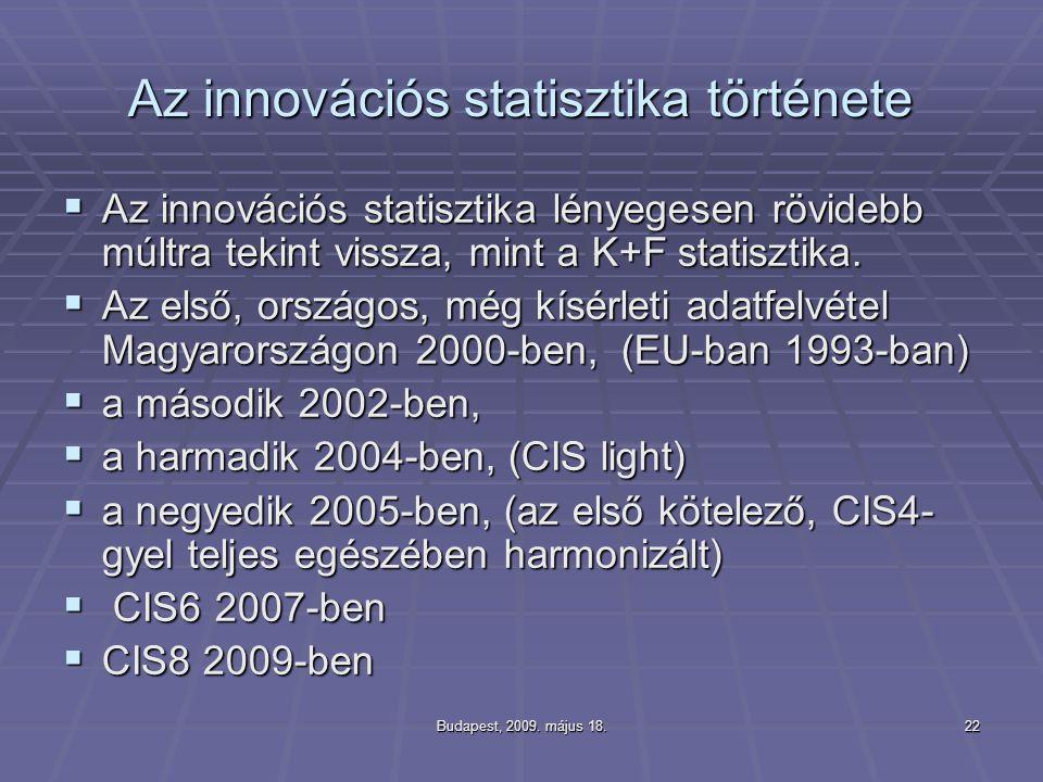 Budapest, 2009. május 18.22 Az innovációs statisztika története  Az innovációs statisztika lényegesen rövidebb múltra tekint vissza, mint a K+F stati