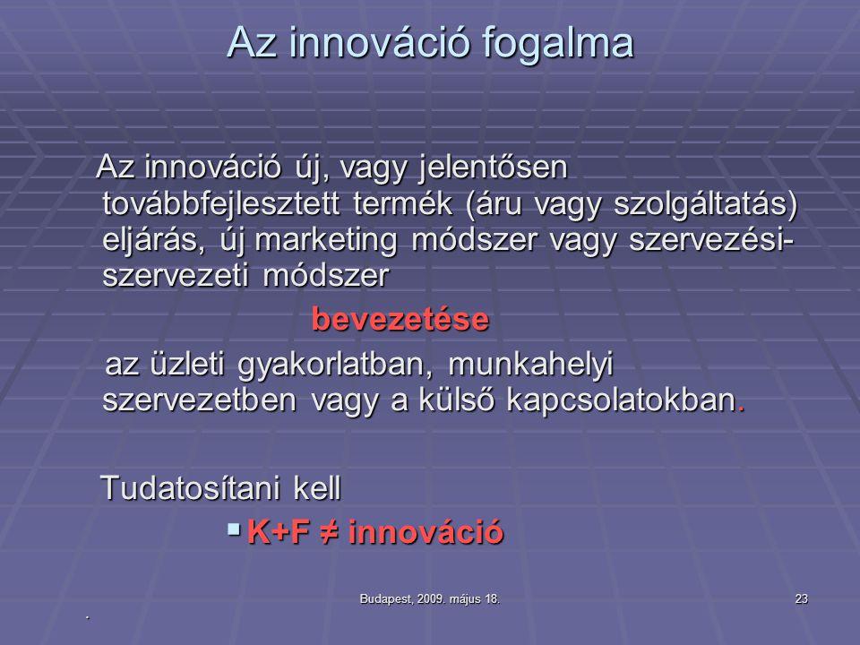 Budapest, 2009. május 18.23 Az innováció fogalma Az innováció új, vagy jelentősen továbbfejlesztett termék (áru vagy szolgáltatás) eljárás, új marketi